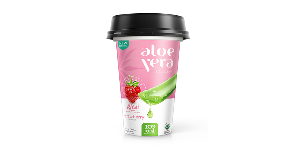 Aloe Vera With Strawberry Flavor 330ml PP Cup Rita Brand