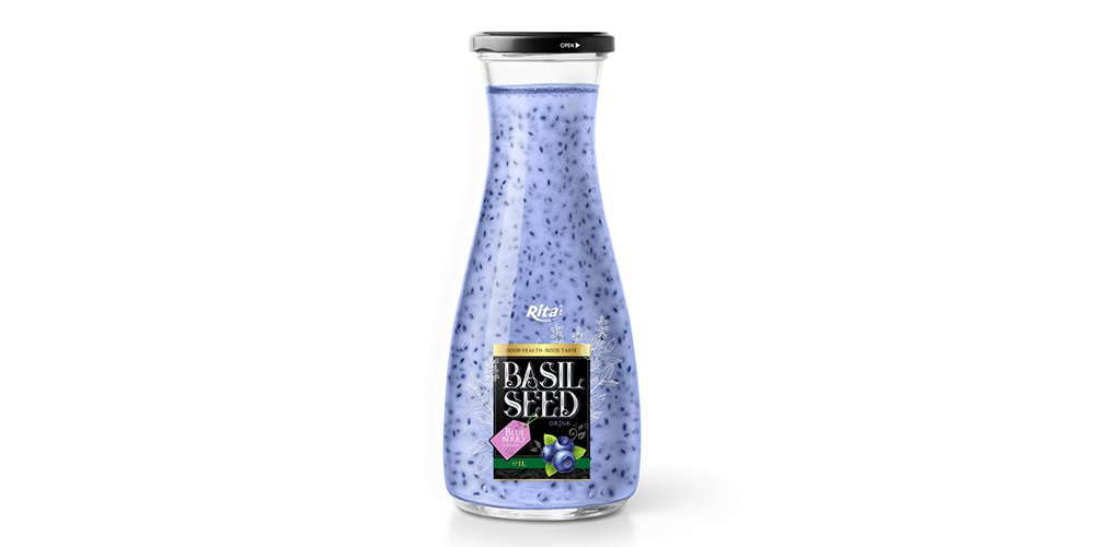 Basil Seed With Blueberry Flavor 1L Glass Bottle