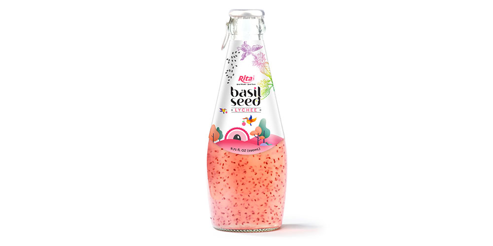 Basil Seed With Lychee Flavor 290ml Glass Bottle