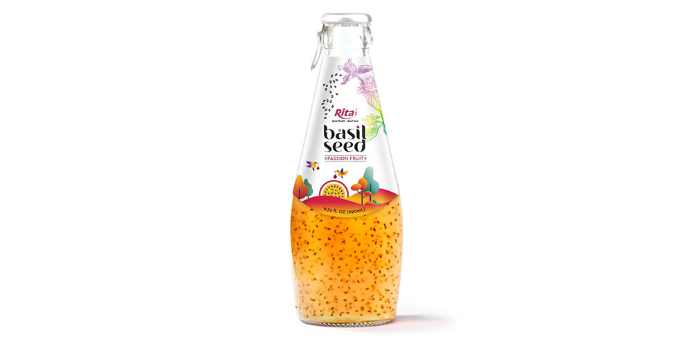 Basil Seed With Passion Fruit 290ml Glass Bottle