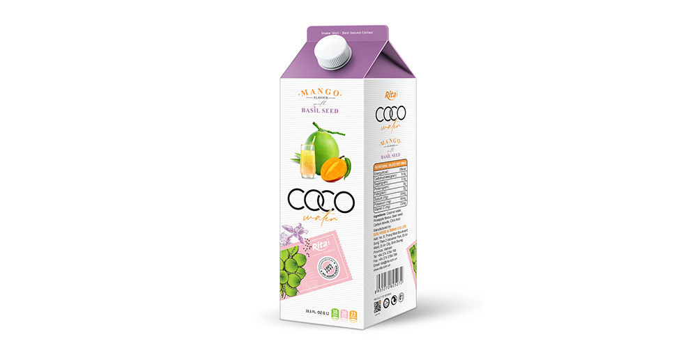 Coconut Water With Basil Seed And Mango Flavor 1L Paper Box
