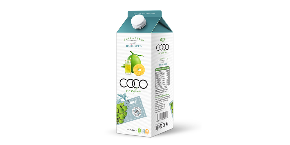 Coconut Water With Basil Seed And Pineapple Flavor 1L Paper Box
