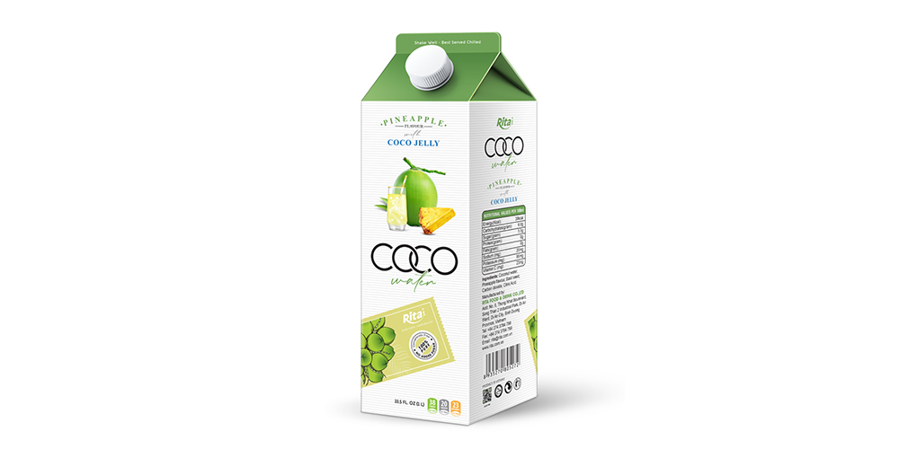 Coconut Water With Coco Jelly And Pineapple Flavor 1L Paper Box
