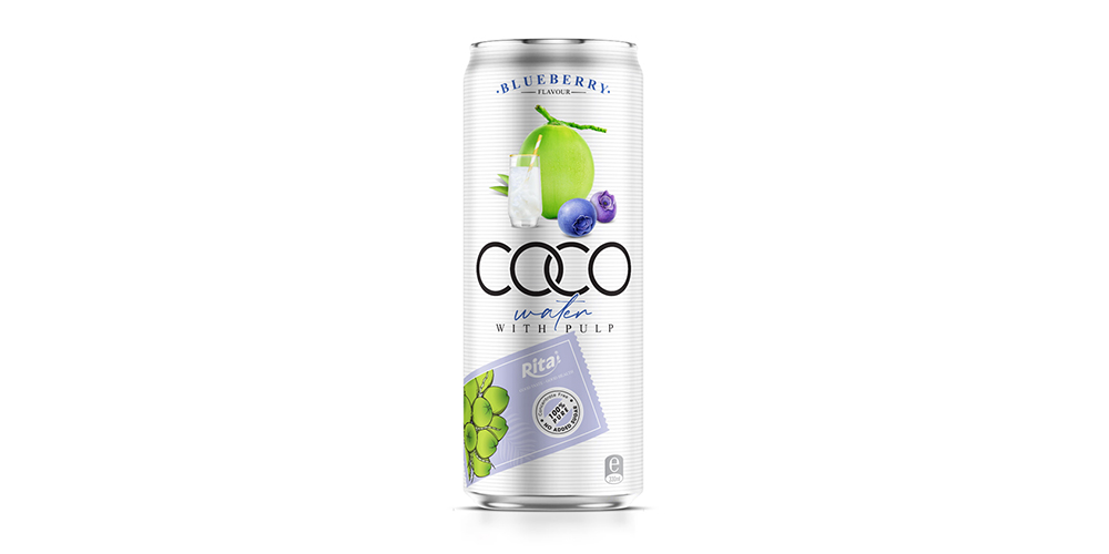 Coconut Water Blueberry Flavor With Pulp 330ml Can Rita Brand