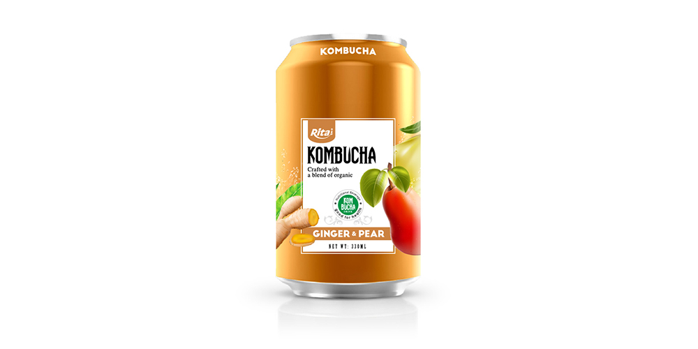 Kombucha Tea With Ginger And Pear 330ml Can Rita Brand