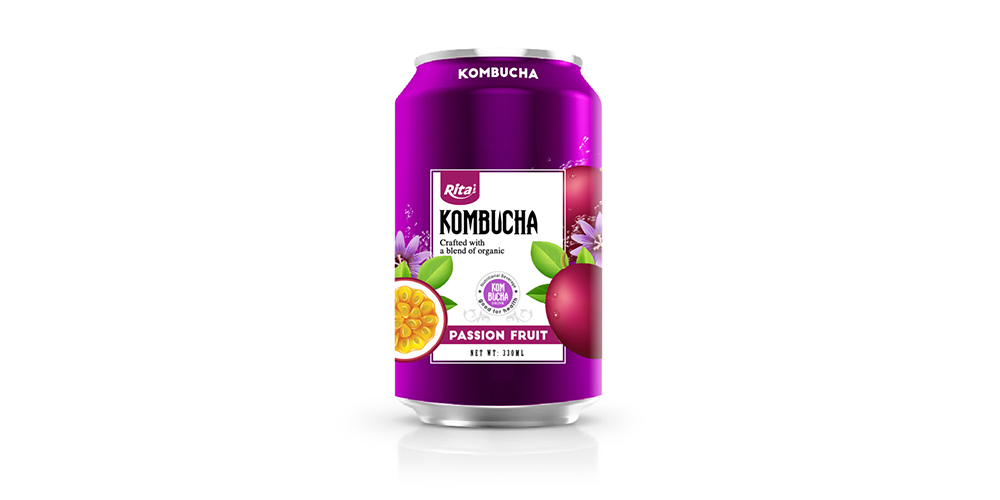 Kombucha Tea With Passion Fruit Juice 330ml Can Rita Brand