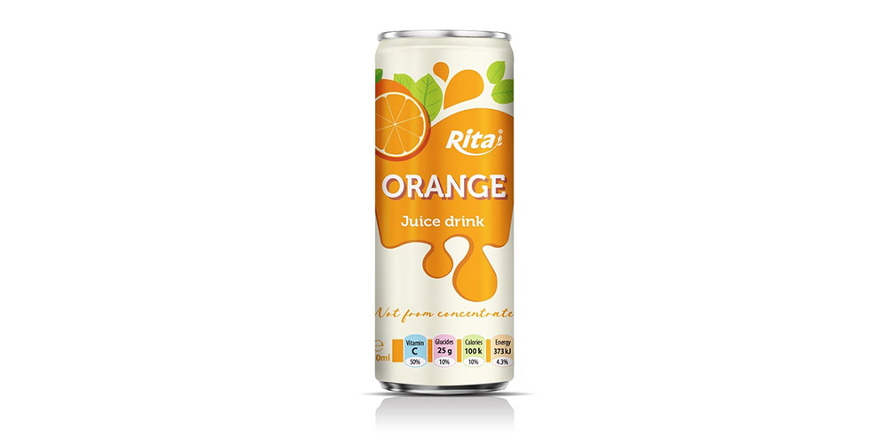 Orange Juice Drink 250ml Sleek Can Rita Brand
