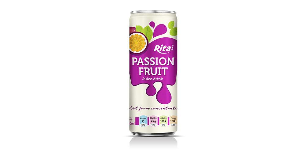 Passion Fruit Juice Drink 250ml Sleek Can Rita Brand
