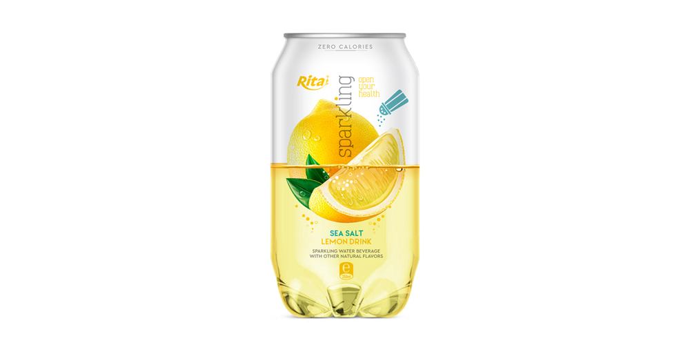 Sparkling Water With Sea Salt Lemon Flavor 350ml Can Rita Brand