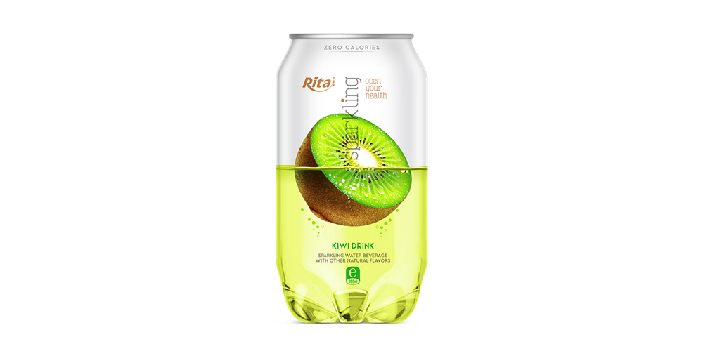 Sparkling Water With Kiwi Flavor 350ml Can Rita Brand