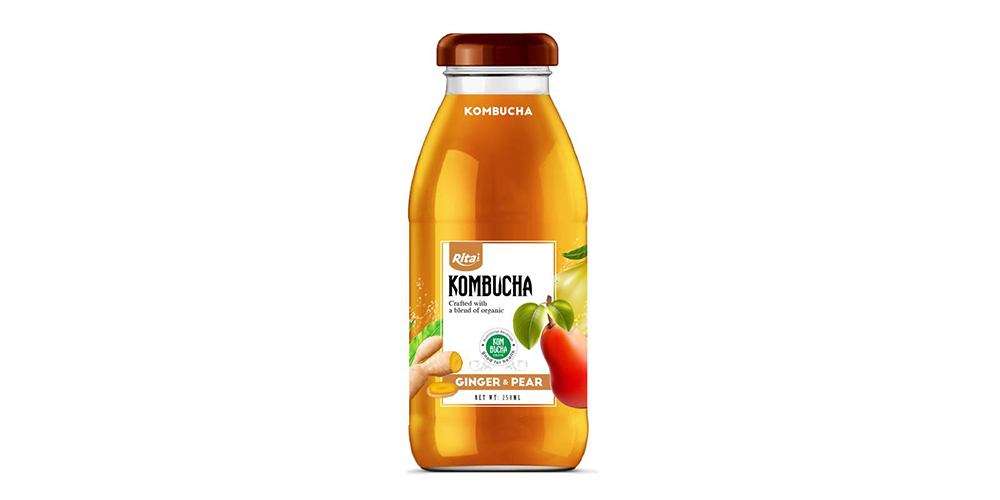 Kombucha Tea With Ginger And Pear 250ml Glass Bottle Rita Brand