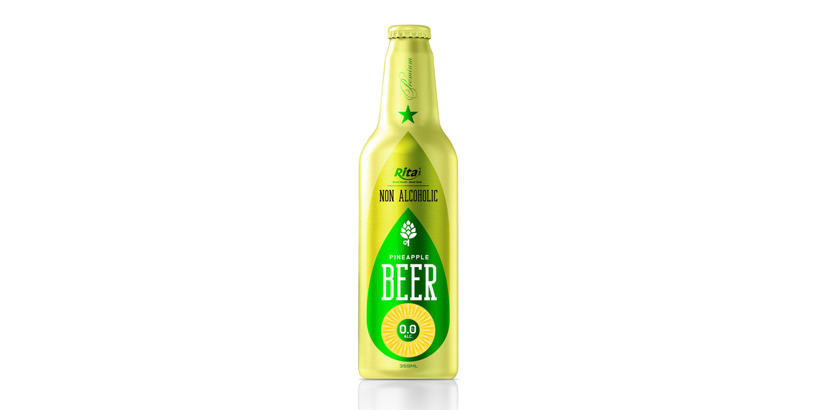 Non Alcoholic Pineapple Beer 355ml Alu Bottle Rita Brand