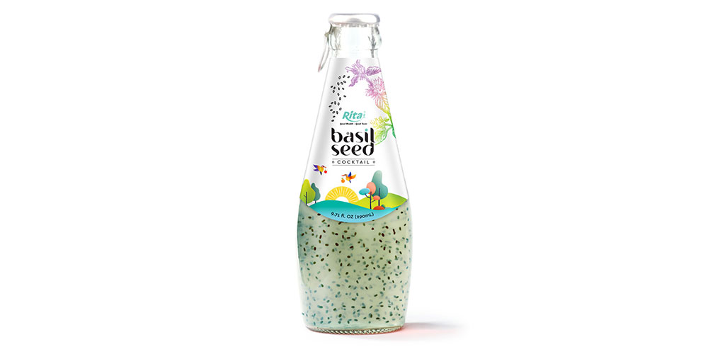 Basil Seed With Cocktail Flavor 290ml Glass Bottle
