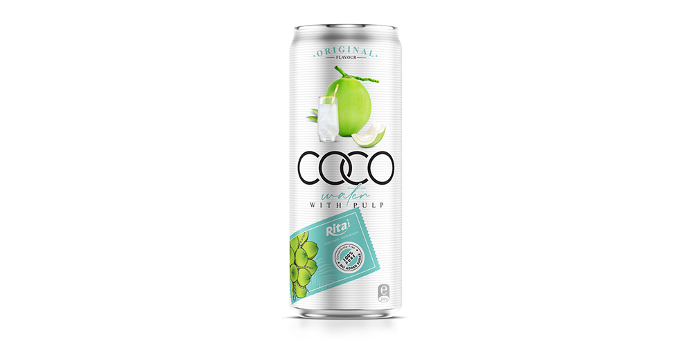Coconut Water Original Flavor With Pulp 330ml Can Rita Brand