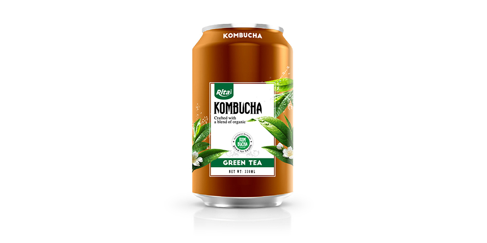Kombucha Green Tea 330ml Can Rita Brand