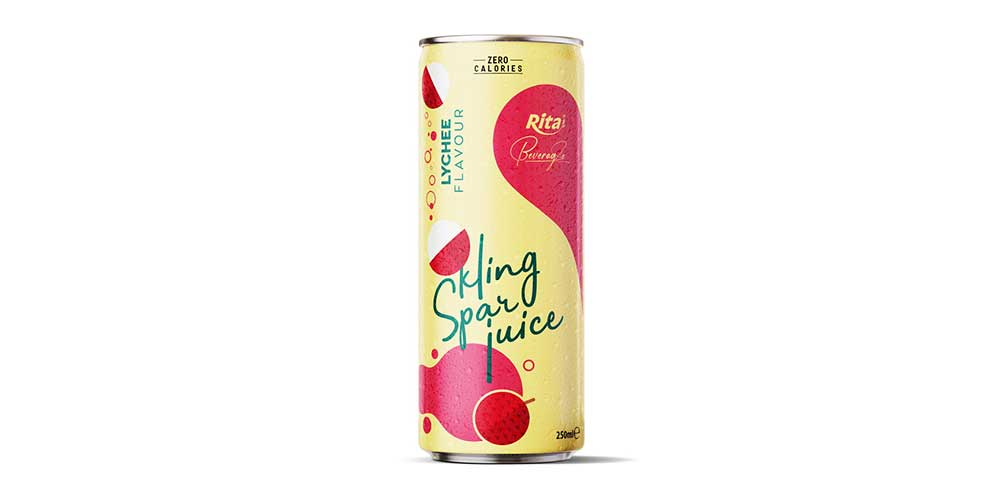 Sparkling Water With Lychee Flavor 250ml Can Rita Brand