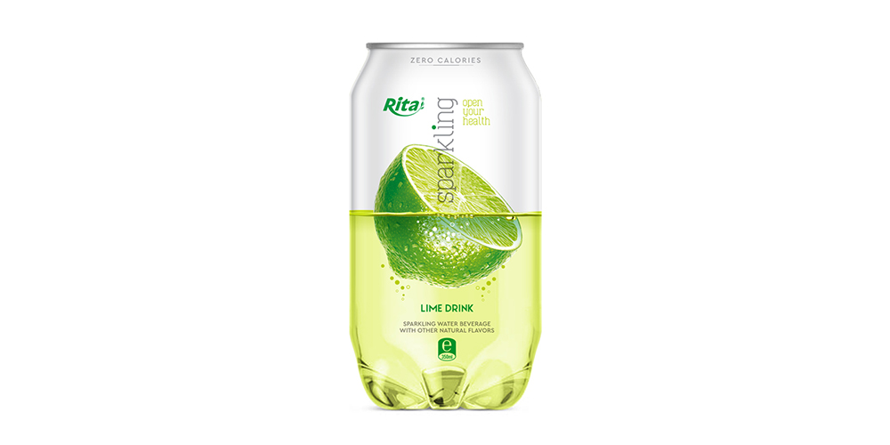 Sparkling Water With Lime Flavor 350ml Can Rita Brand