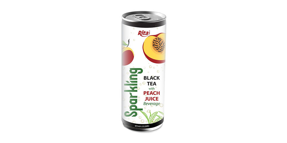 Sparkling Black Tea With Peach Juice 250ml Can