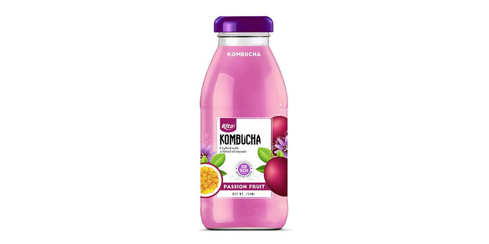 Kombucha Tea With Passion Fruit Juice 250ml Glass Bottle Rita Brand