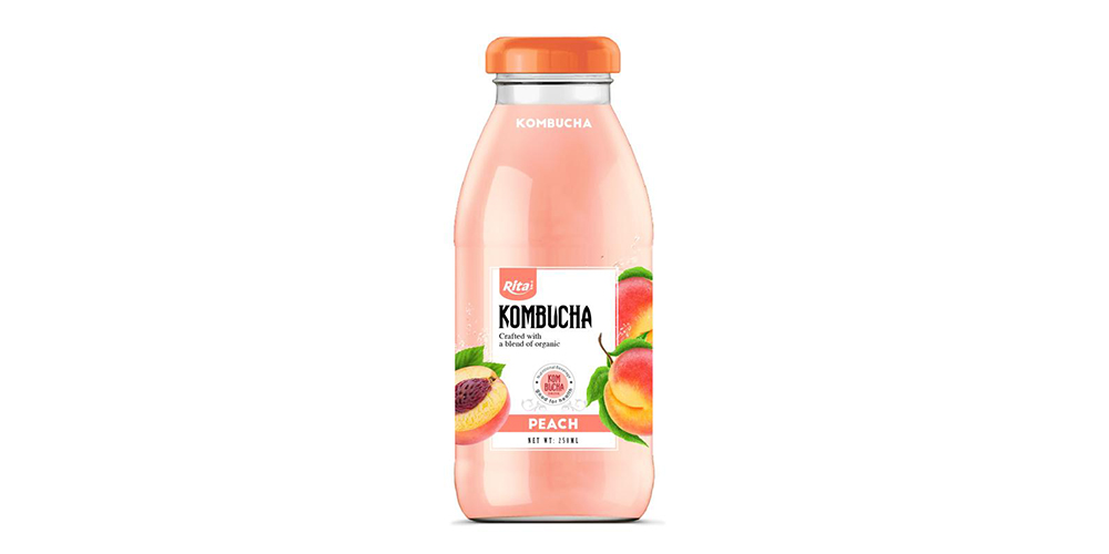 Kombucha Tea With Peach Juice 250ml Glass Bottle Rita Brand